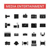 Media entertainment illustration, thin line icons, linear flat signs  Stock Photo