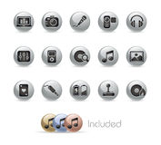 Media & Entertainment // Metal Button Series Royalty Free Stock Images
