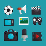 media entertainment set icons Stock Photography