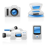Media Equipment Icons Stock Image