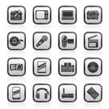 Media et icônes noirs et blancs de technologie Photo libre de droits