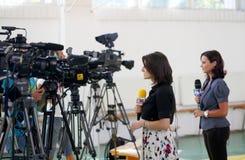 Media - Fernsehreporter Lizenzfreies Stockbild