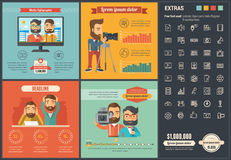 Media flat design Infographic Template Stock Images