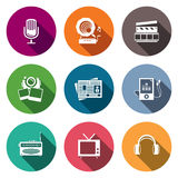 Media flat icon set - video, news, music, TV, recording, photo Stock Images