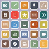 Media flat icons on violet background Stock Image