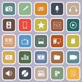 Media flat icons on violet background Stock Image