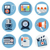 Media Flat Icons for Web and Mobile Applications Stock Images