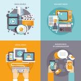 Media Flat Set. Media design concept set with communication sources flat icons  vector illustration Royalty Free Stock Image