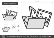 Media folder line icon. Media folder vector line icon isolated on white background. Media folder line icon for infographic, website or app. Scalable icon Stock Photography