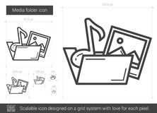 Media folder line icon. Media folder vector line icon isolated on white background. Media folder line icon for infographic, website or app. Scalable icon Royalty Free Stock Photo