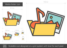 Media folder line icon. Media folder vector line icon isolated on white background. Media folder line icon for infographic, website or app. Scalable icon Stock Photo