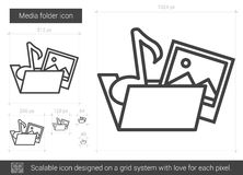 Media folder line icon. Media folder vector line icon isolated on white background. Media folder line icon for infographic, website or app. Scalable icon Royalty Free Stock Images