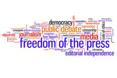 Media freedom. Freedom of the press issues and concepts word cloud illustration. Word collage concept Royalty Free Stock Images