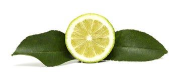 Media fruta del limón con dos hojas foto de archivo
