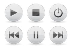 Media glass buttons. White audio or video shiny 3d icons. Vector illustration isolated on white background Stock Images