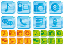 Media glass icons. Set of transparent glass icons Royalty Free Stock Photos