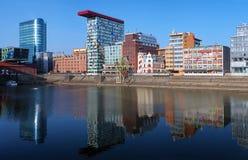 Media-Hafen von Dusseldorf mit modernen Gebäuden Lizenzfreies Stockbild