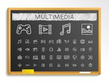 Media hand drawing line icons. chalk sketch sign illustration on blackboard Royalty Free Stock Photo