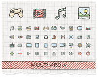 Media hand drawing line icons. Royalty Free Stock Photos
