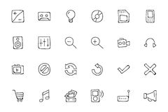 Media Hand Drawn Doodle Icons 3 Stock Images
