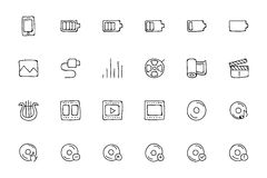 Media Hand Drawn Doodle Icons 2 Royalty Free Stock Photos