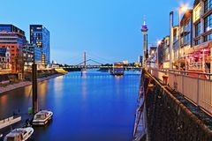 Media Harbor Dusseldorf seen from the south side. At blue hour royalty free stock photo