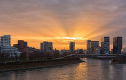 Media harbor  at sunset in Dusseldorf Royalty Free Stock Photography