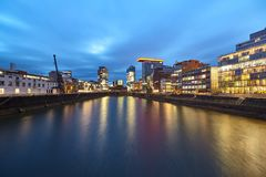 View on Media Harbour in the Blue Hour. Media Harbour in the Blue Hour stock images
