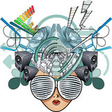 Media head abstract illustration Stock Photo