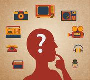 Media head. Difficult choice, silhouette of the head and media icons vector illustration Stock Image