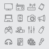 Media het pictogram van de apparatenlijn stock illustratie
