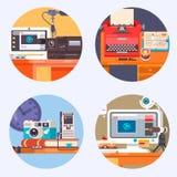 Media het pictogram van het de Technologieconcept van de Gadgetelektronika Vlakke vectorillustratie Stock Afbeeldingen