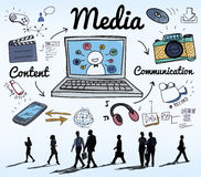 Media het Sociale Media Online Concept Van verschillende media Stock Foto's