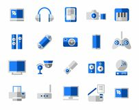 Media, icon, colorful, blue. Royalty Free Stock Photos