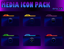 Media icon pack. EPS 10 / 6 Vector media icons Royalty Free Stock Image