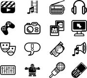 Media icon series set. A series set of icons relating to various types of media Stock Photography