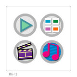 MEDIA: Icon Set 06 - Version 1. 4 colored icons in a circle shaped buttons about media. Please check the complete set and other versions Stock Photo