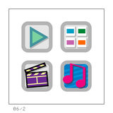MEDIA: Icon Set 06 - Version 2. 4 colored icons in a square shaped buttons about media. Please check the complete set and other versions Royalty Free Stock Photo