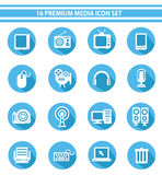 16 Media Icon set,Blue version.  Royalty Free Illustration
