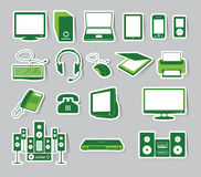 Media Icon Set Green Color Royalty Free Stock Photos