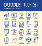 Media icon set. Handmade ink pen line icons set of modern media and advertisement industry. Solution for internet projects. Creative outline symbol collection stock illustration