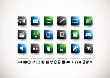 Media Icon Set | High Gloss. A collection of 18 media and technology icons Royalty Free Stock Images