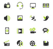 Media icon set Stock Photography