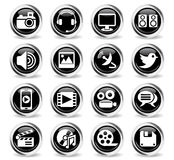 Media icon set Stock Photos
