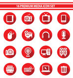 16 Media Icon set,Red version.  stock illustration