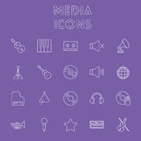 Media icon set. Stock Photo