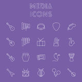 Media icon set. Stock Photos