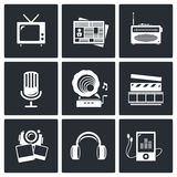 Media icon set - video, news, music, TV, recording, photo Royalty Free Stock Photo