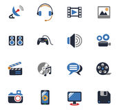 Media icon set. Media web icons for user interface design Royalty Free Stock Photos
