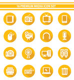 16 Media Icon set,Yellow version Stock Photography